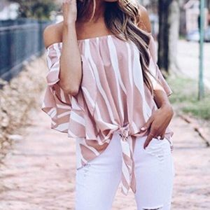 Spring summer- striped pink top